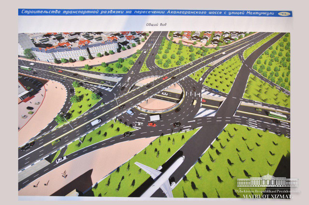Развязка на Ахангаранском шоссе и улице Паркентской у ТАПОиЧ и Корзинки Авиатор