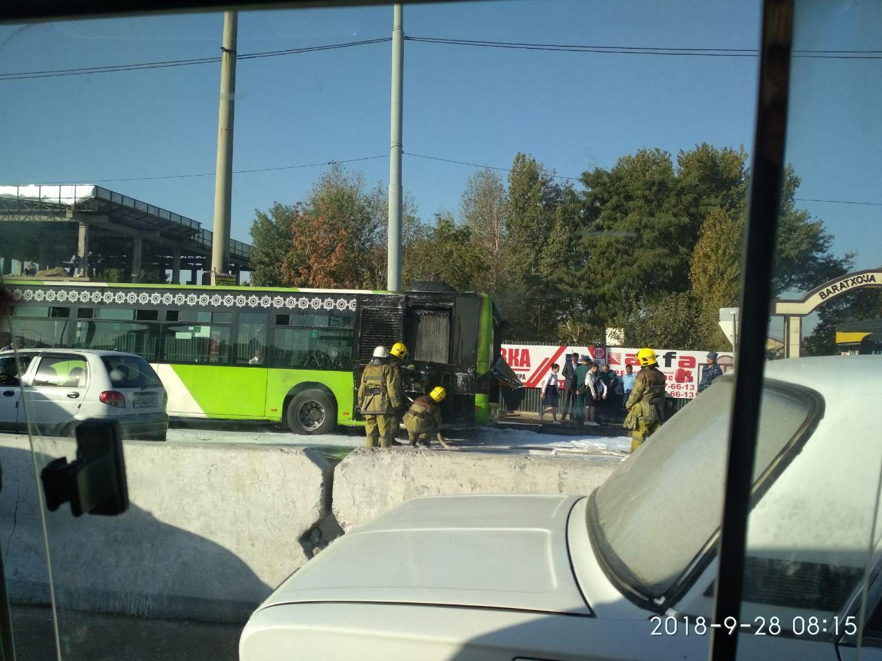 Сгорел автобус на Куйлюке