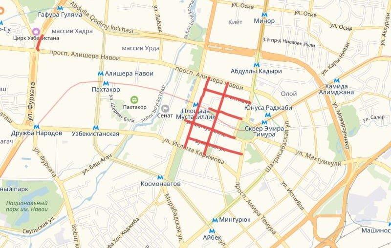 Список улиц, перекрытых для новогодних гуляний в Ташкенте