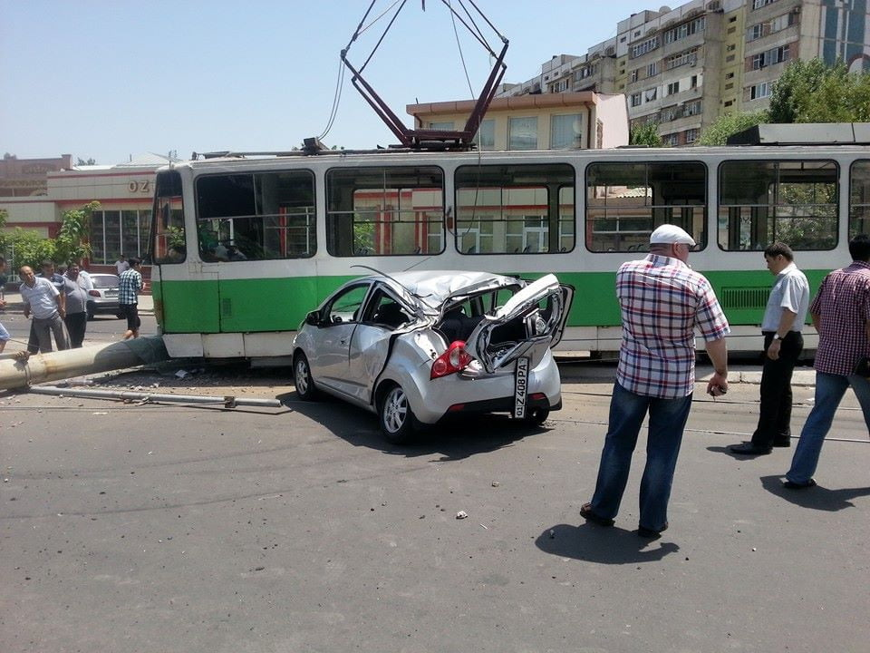 ДТП с трамваем в Ташкенте
