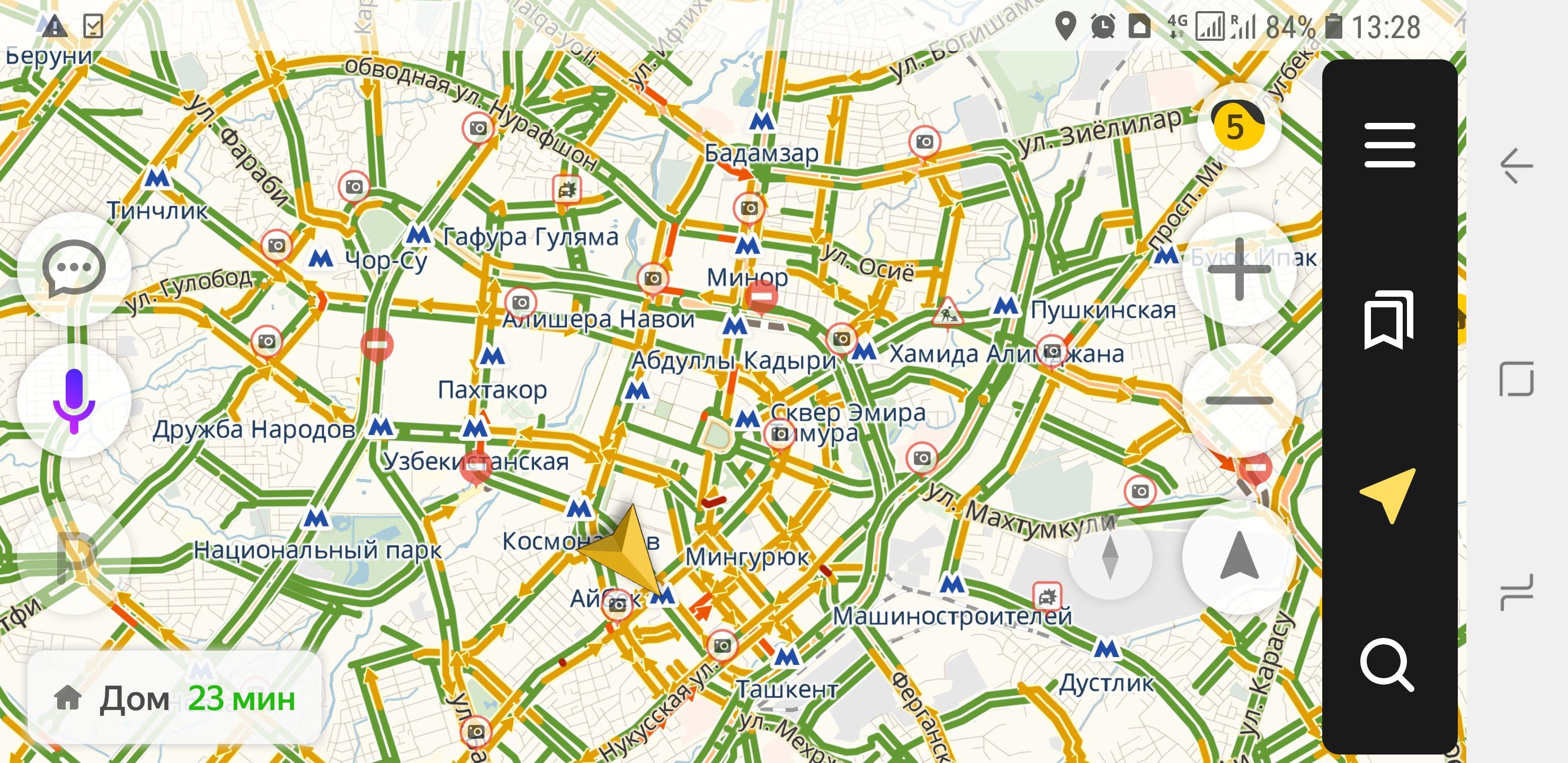 Яндекс Пробки в Ташкенте