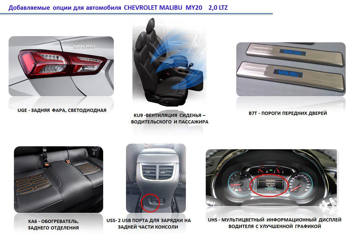 Новые опции в Chevrolet Malibu 2 Turbo 2.0 LTZ — 2020 модельного года