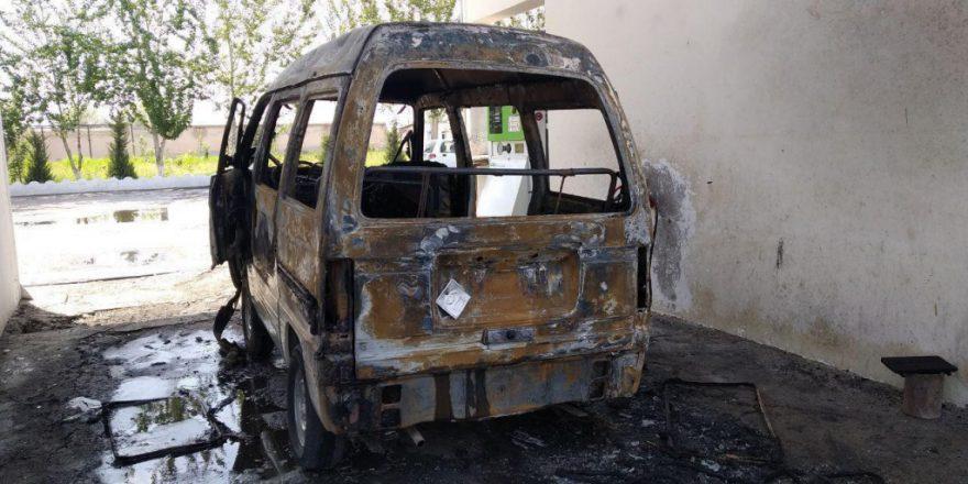 Пожар на газовой заправке в Андижане - сгорел Damas