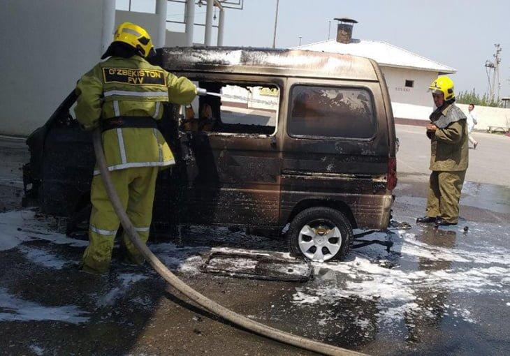 Пожар на газовой заправке в Андижане