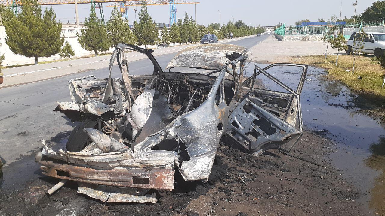 Nexia сгорела дотла после взрыва газового баллона