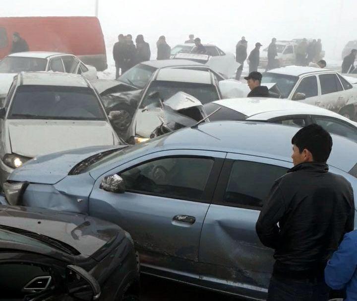 Массовая авария произошла в Самаркандской области — столкнулись 14 автомобилей