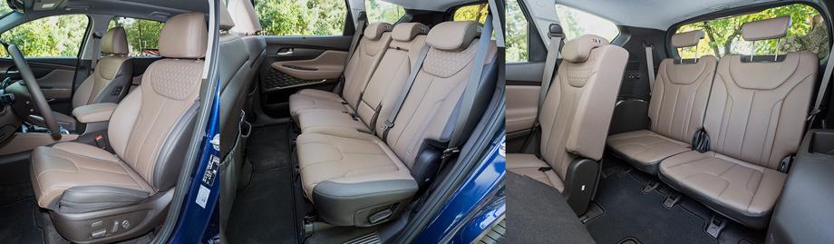 Передние кресла сделаны в немецком стиле: жестковаты, с уверенной боковой поддержкой и выверенным профилем. Диван второго ряда плоский и оттого удобен для троих. Его части нажатием кнопки откидываются для доступа на тесную и неудобную галёрку.