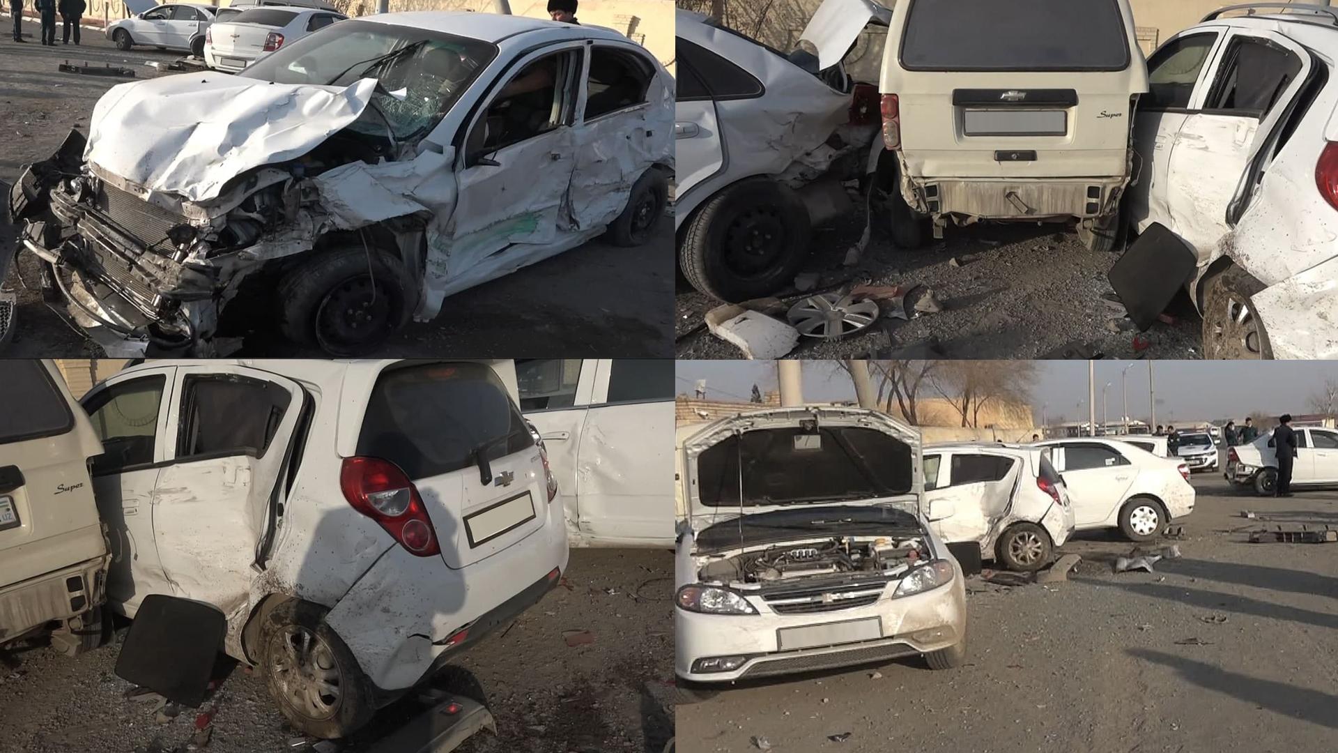 Пьяный водитель в Нукусе столкнулся с несколькими автомобилями