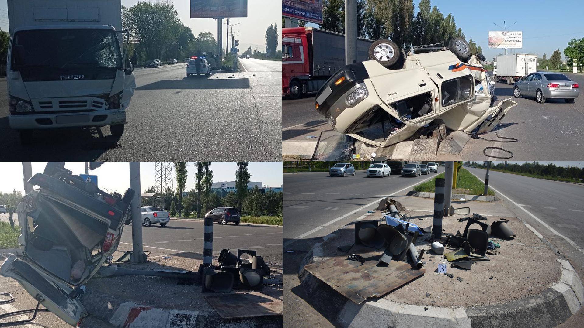 Грузовик Isuzu столкнулся с Chevrolet Damas в Ташкенте
