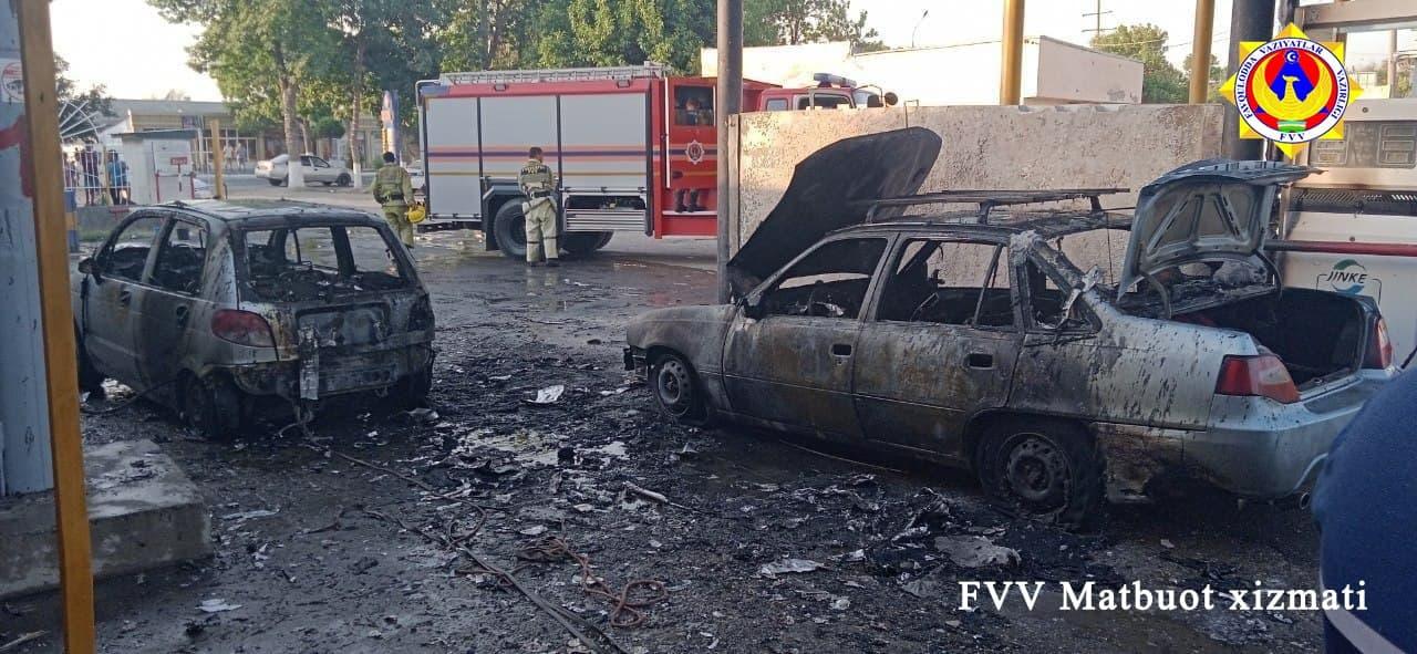 На газозаправочной станции в Джизаке из-за несоблюдения правил безопасности произошёл пожар, сгорели два автомобиля