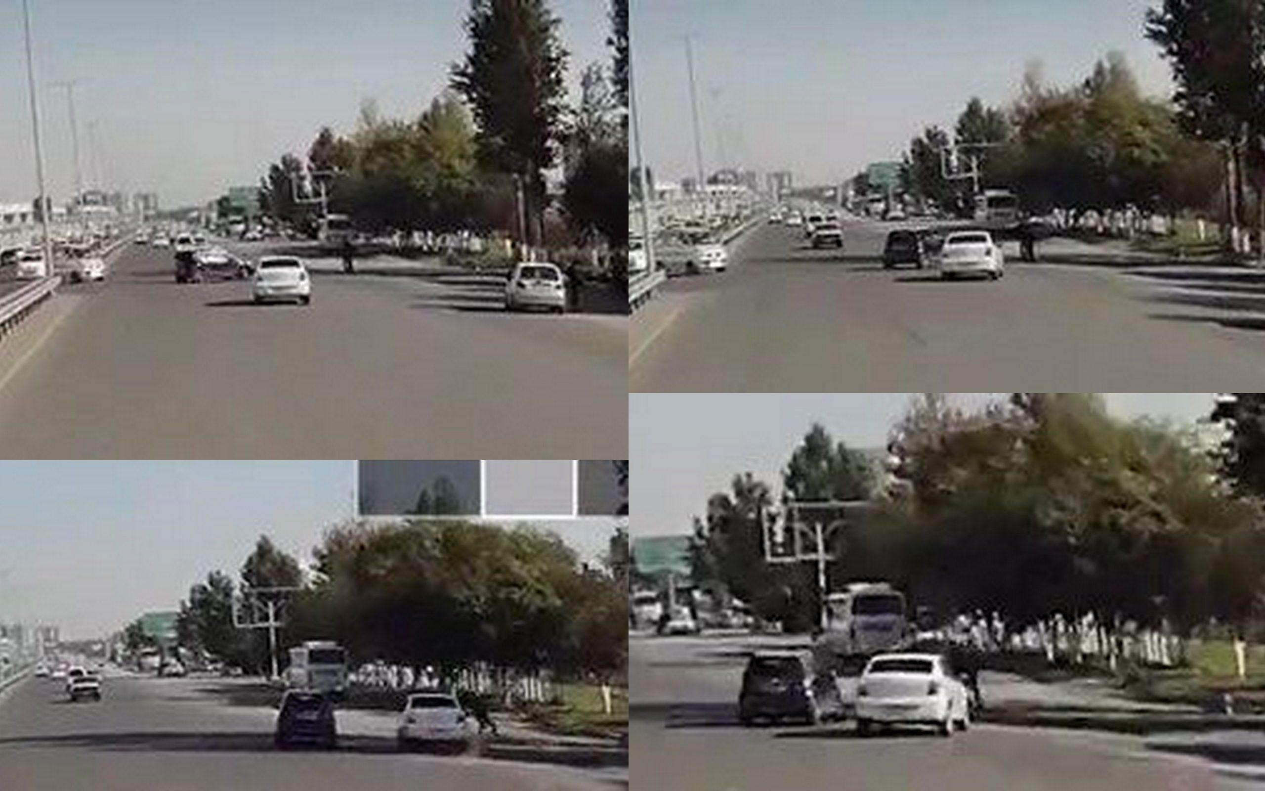 В Ташкенте в районе Куйлюка Spark не уступил дорогу Кобальту при развороте, в результате Cobalt вылетел на обочину, где сбил несколько человек